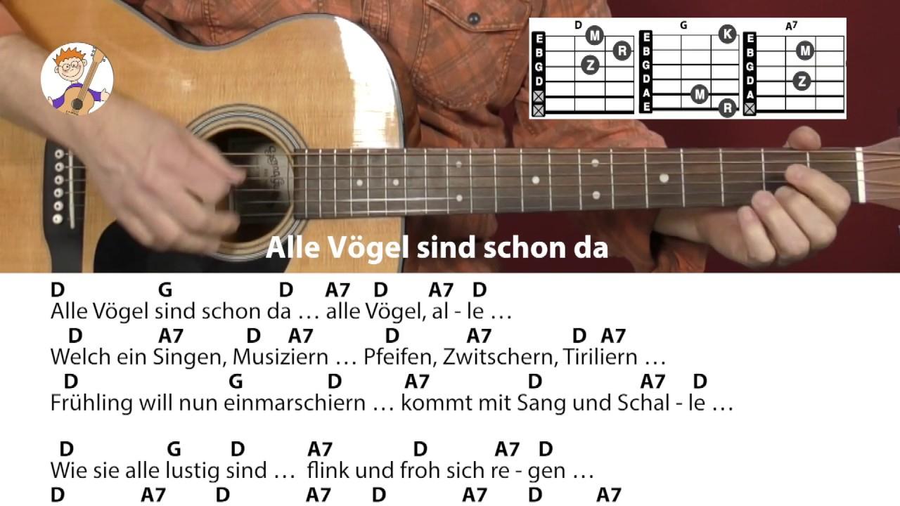 Alle Vögel Sind Schon Da - Frühlingslied, Akkorde & Text Für Gitarre Zum  Mitspielen bei Alle Vögel Sind Schon Da Akkorde