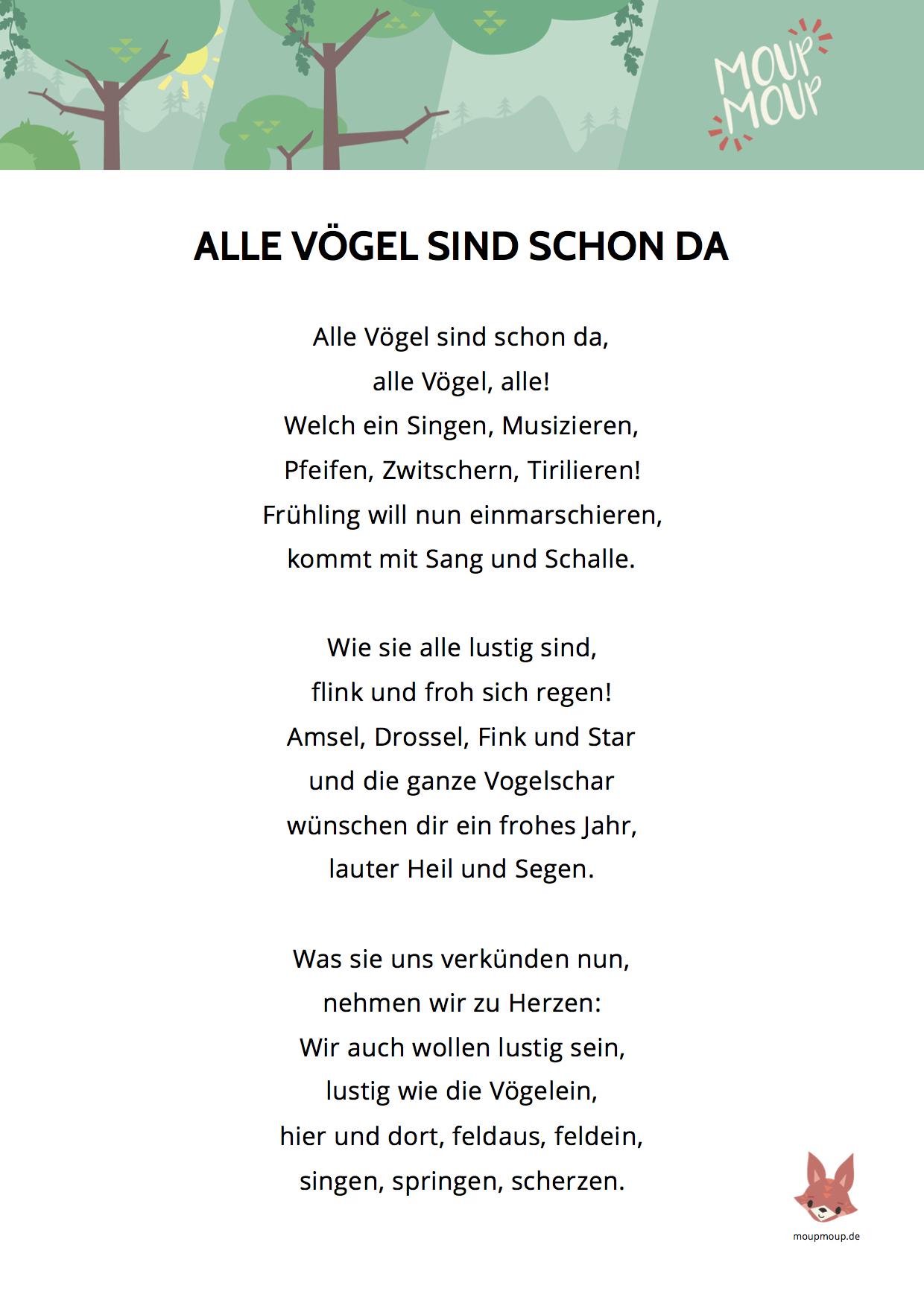 Alle Vögel Sind Schon Da - Mit Liedtext (Pdf) | Moupmoup verwandt mit Alle Vögel Sind Schon Da Akkorde