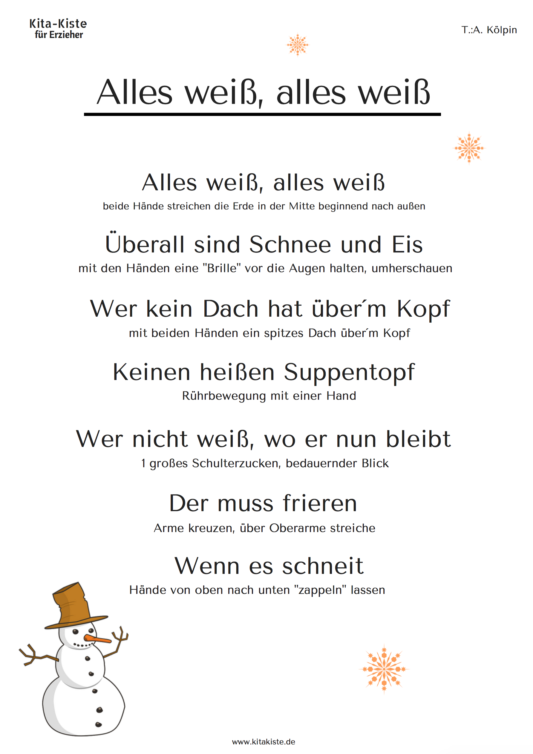 """Alles Weiß"""" (Passend Zu """"es Klopft Bei Wanja In Der Nacht in Gedicht Winter Grundschule"""