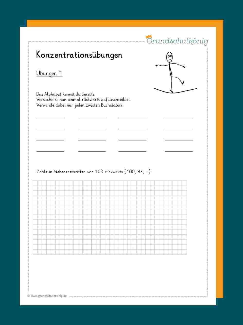 Allgemeine Konzentrationsübungen bestimmt für Konzentrationsübungen Arbeitsblätter Zum Ausdrucken