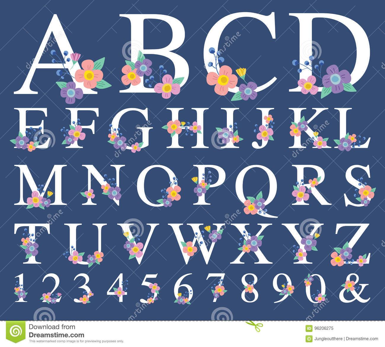 Alphabet-Buchstabe Mit Dekorativer Blume Vektor Abbildung mit Blume Mit 6 Buchstaben