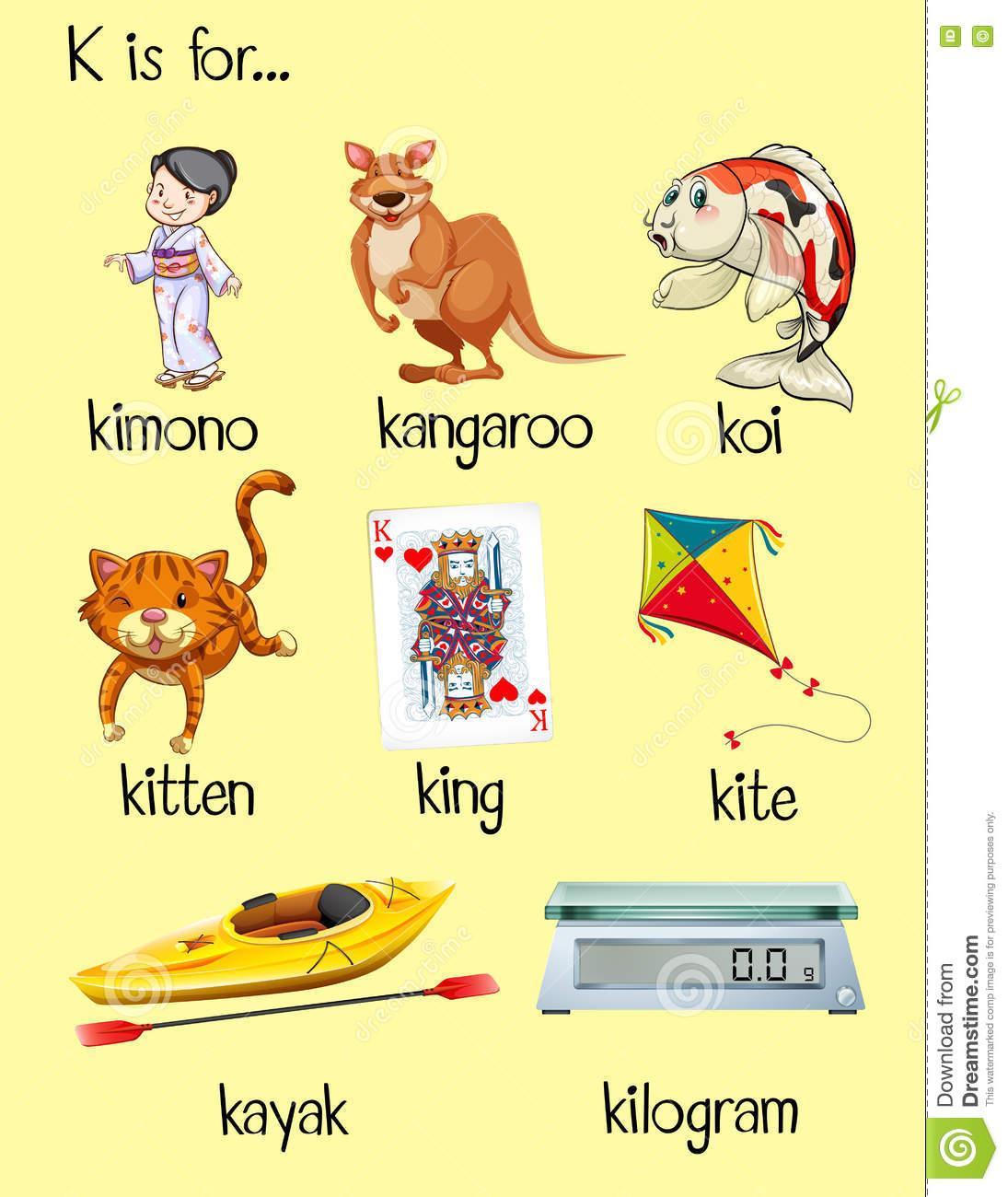 Anfang Vieler Wörter Mit Buchstaben K Vektor Abbildung bei Wörter Mit Zu Am Anfang