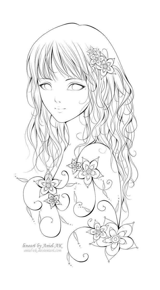 Anime Manga Girl Mädchen Zeichnung Fablos Blumen   Coloriage über Manga Ausmalen