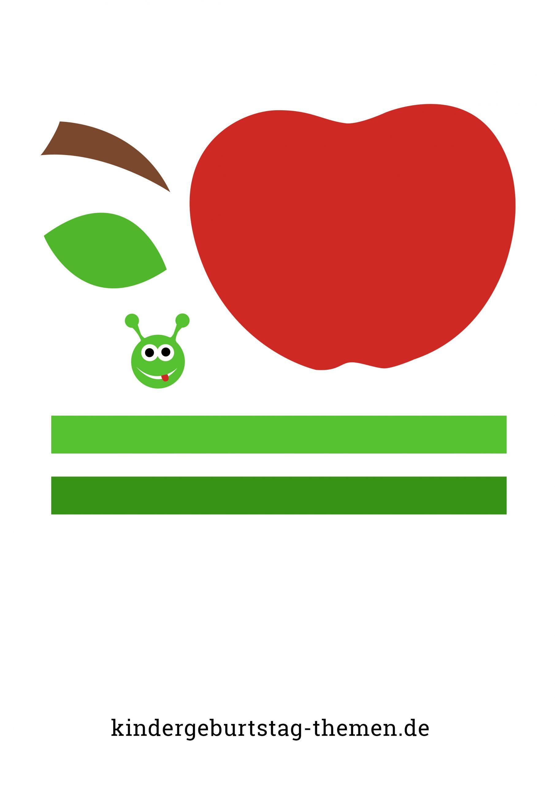 Apfel Mit Wurm Basteln: Anleitung Und Vorlage Für ganzes Bastelvorlage Apfel