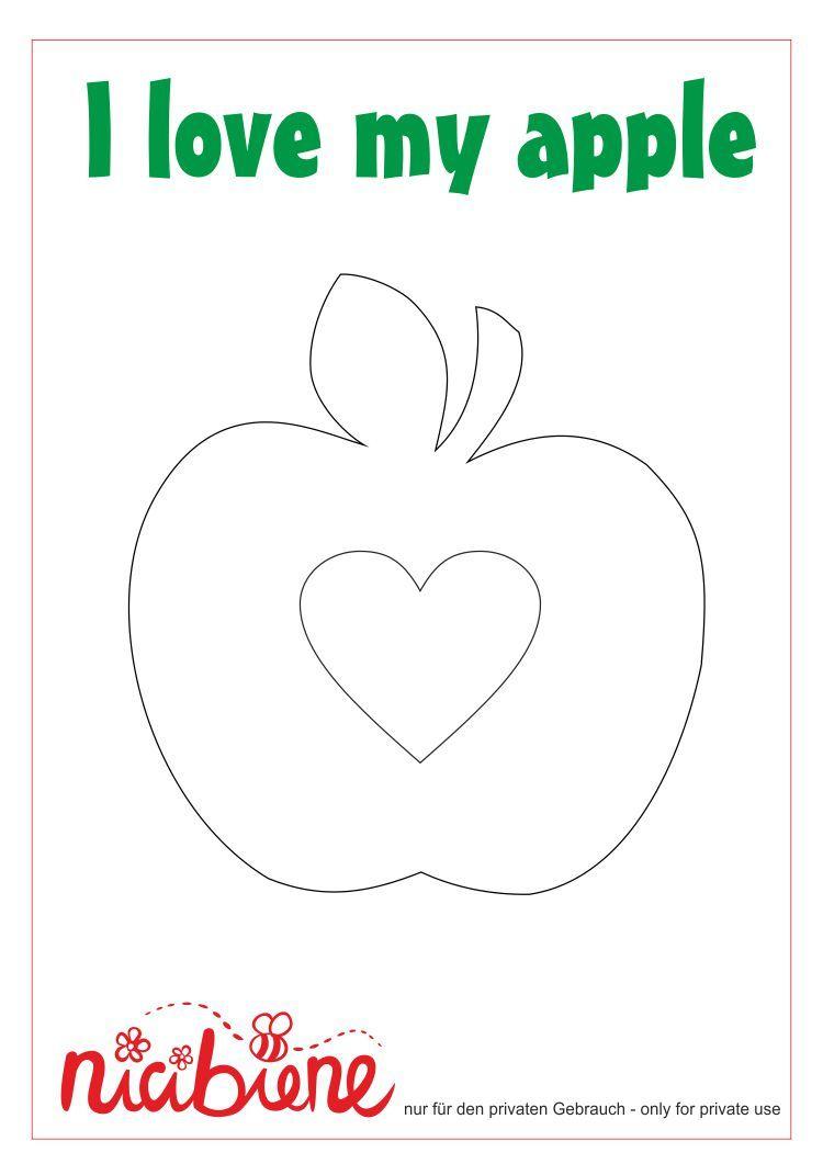 Applikationsvorlage Apfel Mit Herz | Applikationsvorlagen mit Bastelvorlage Apfel