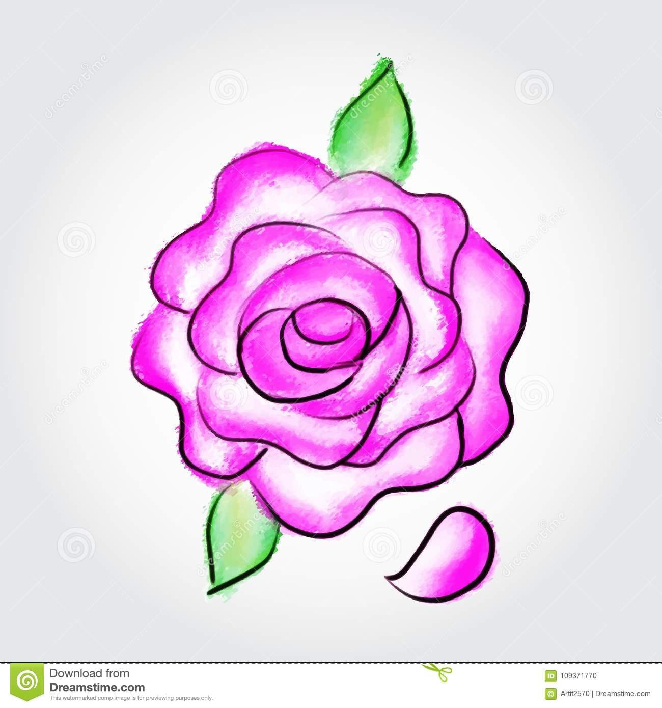 Aquarell-Vektorillustration Des Rosas Rose Gemalte, Hand mit Rosen Bilder Gemalt