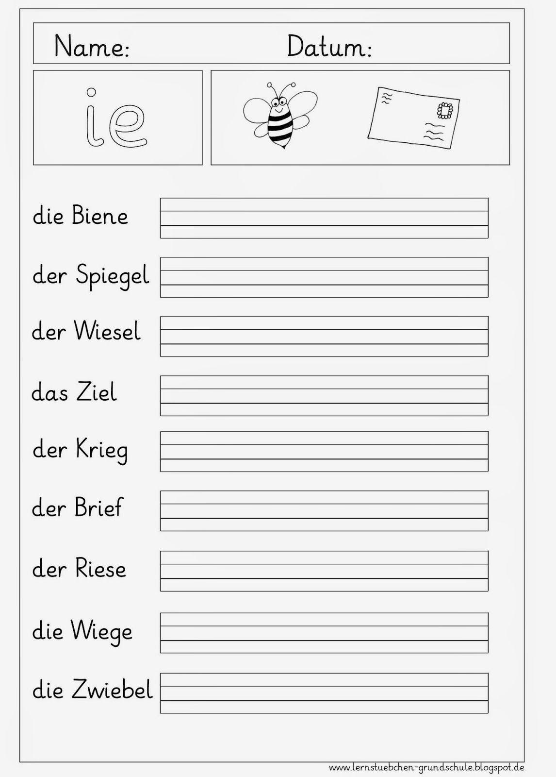 Arbeitsblätter Rund Um Das Ie | Arbeitsblätter Grundschule für Schreibübungen 1 Klasse Kostenlos