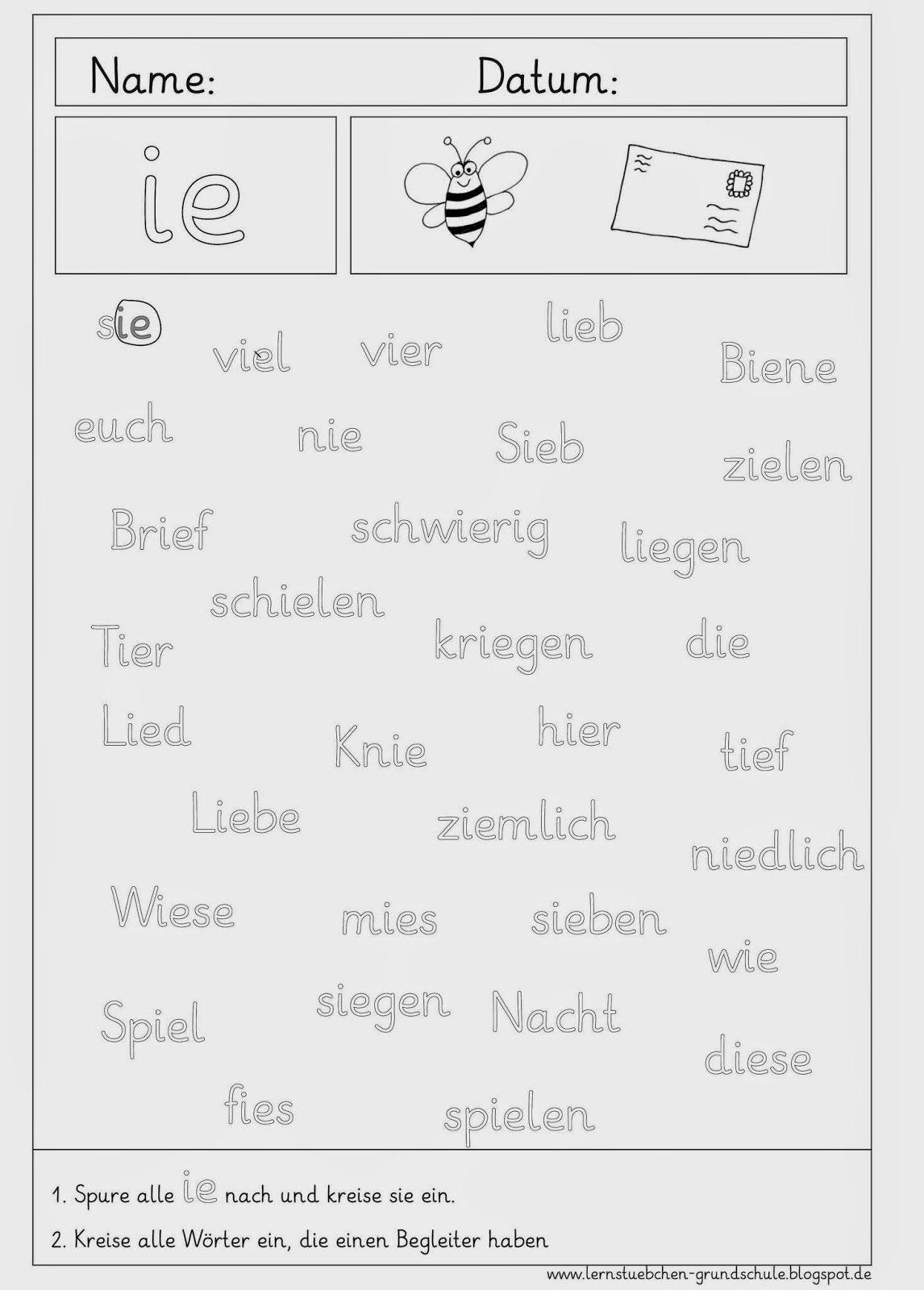Arbeitsblätter Rund Um Das Ie (Mit Bildern) | Lesen Lernen 1 innen Grundschrift Arbeitsblätter
