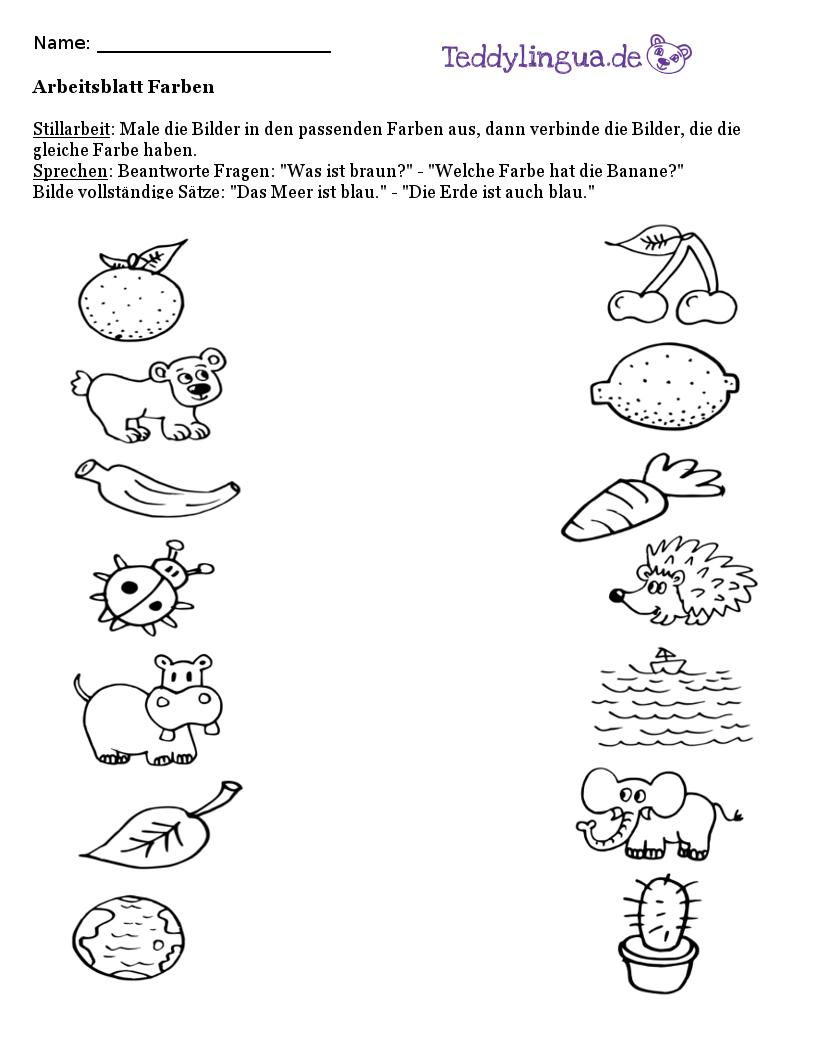 Arbeitsblätter | Teddylingua verwandt mit Arbeitsblatt Farben