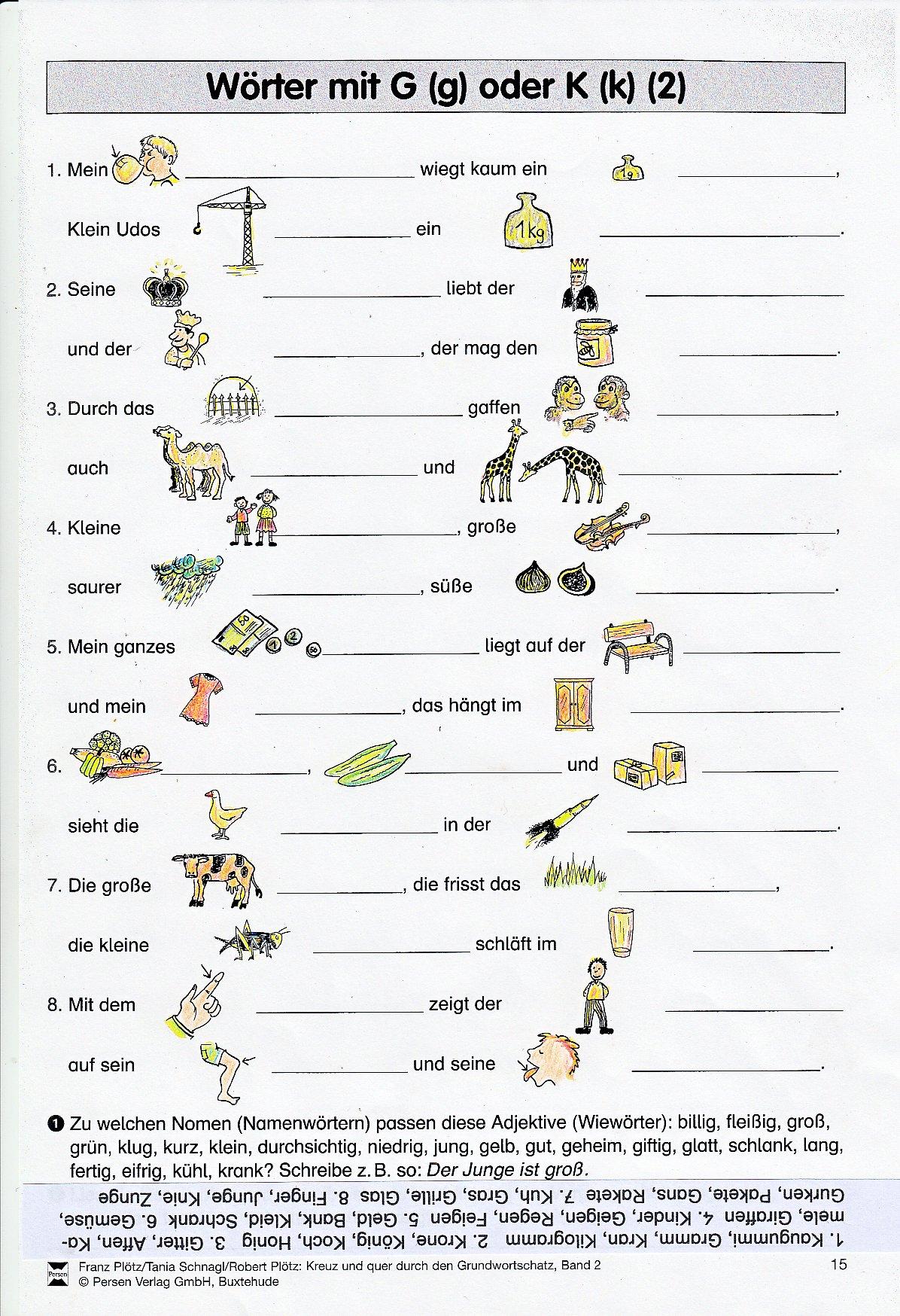 Wörter Mit G Am Anfang Grundschule