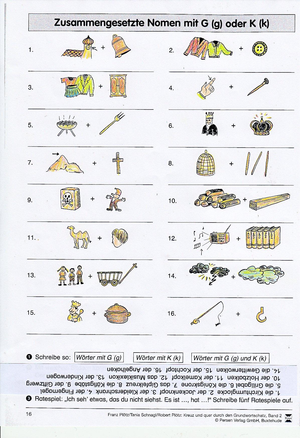 Arbeitsblätter Und Materialien bestimmt für Nomen Mit G Am Anfang