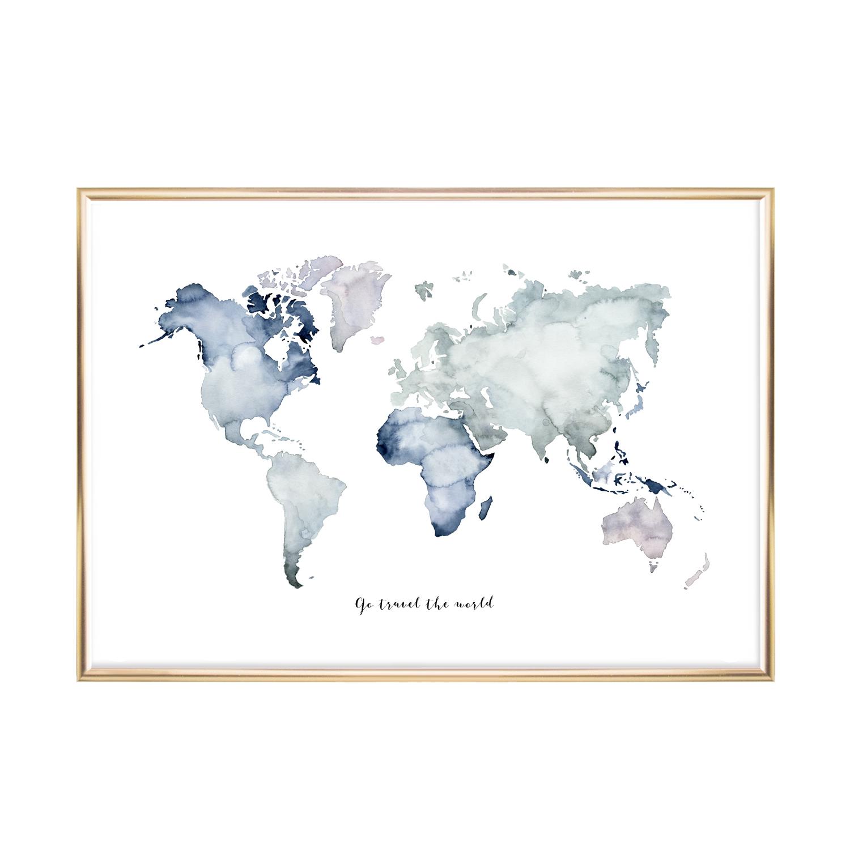 Artprint Leo La Douce Weltkarte bestimmt für Weltkarte Din A3