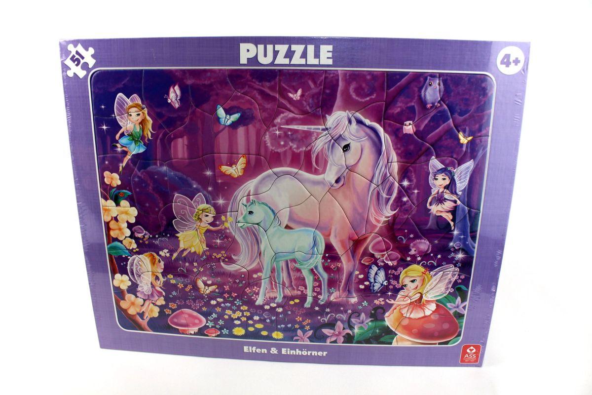 Ass 22522 - Rahmenpuzzle, Elfen & Einhörner, 51 Teile bei Elfen Und Einhörner