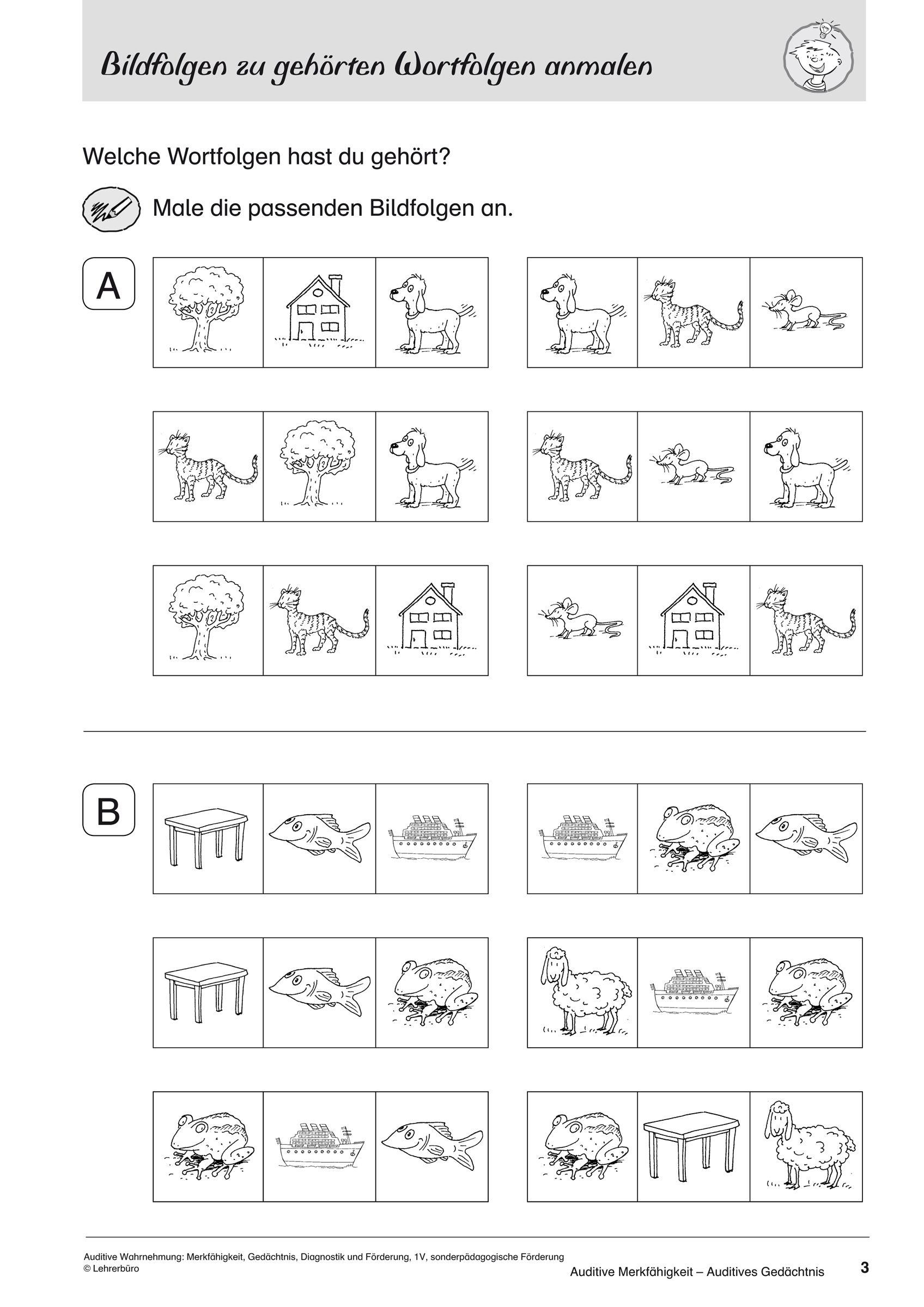Auditive Wahrnehmung: Merkfähigkeit, Gedächtnis, Diagnostik mit Übungen Logisches Denken Zum Ausdrucken