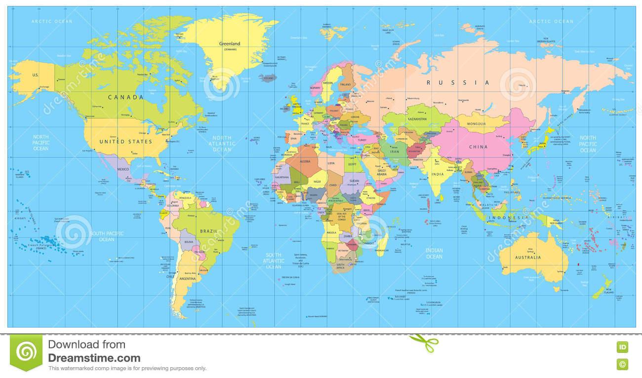 Ausführliche Politische Weltkarte: Länder, Städte verwandt mit Länder Der Welt Karte