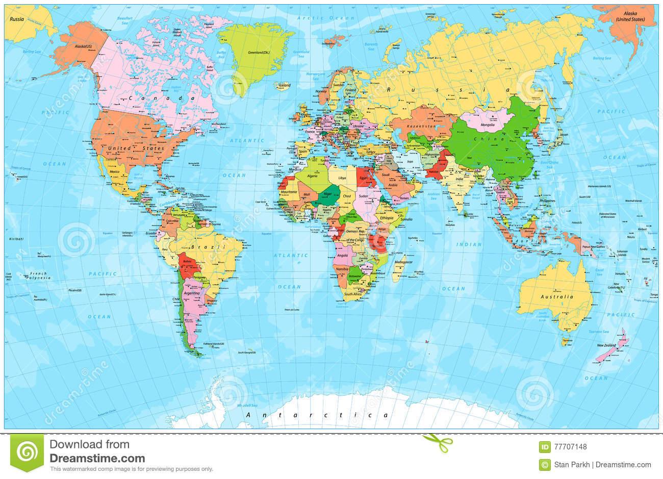 Ausführliche Politische Weltkarte Mit Hauptstädten, Flüssen bestimmt für Weltkarte Mit Hauptstädten