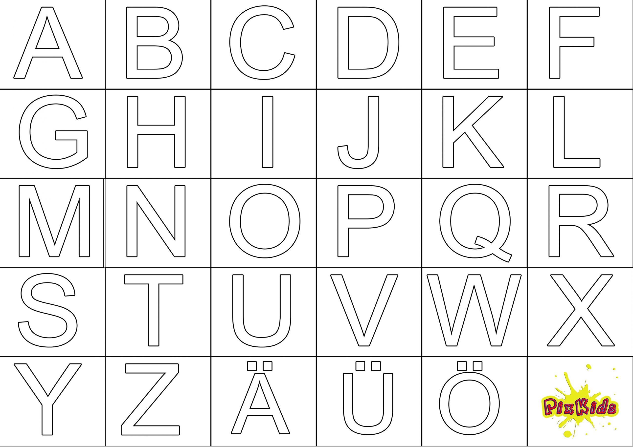 Ausmalbild Abc - Kostenlose Malvorlagen bestimmt für Buchstaben Zum Ausschneiden