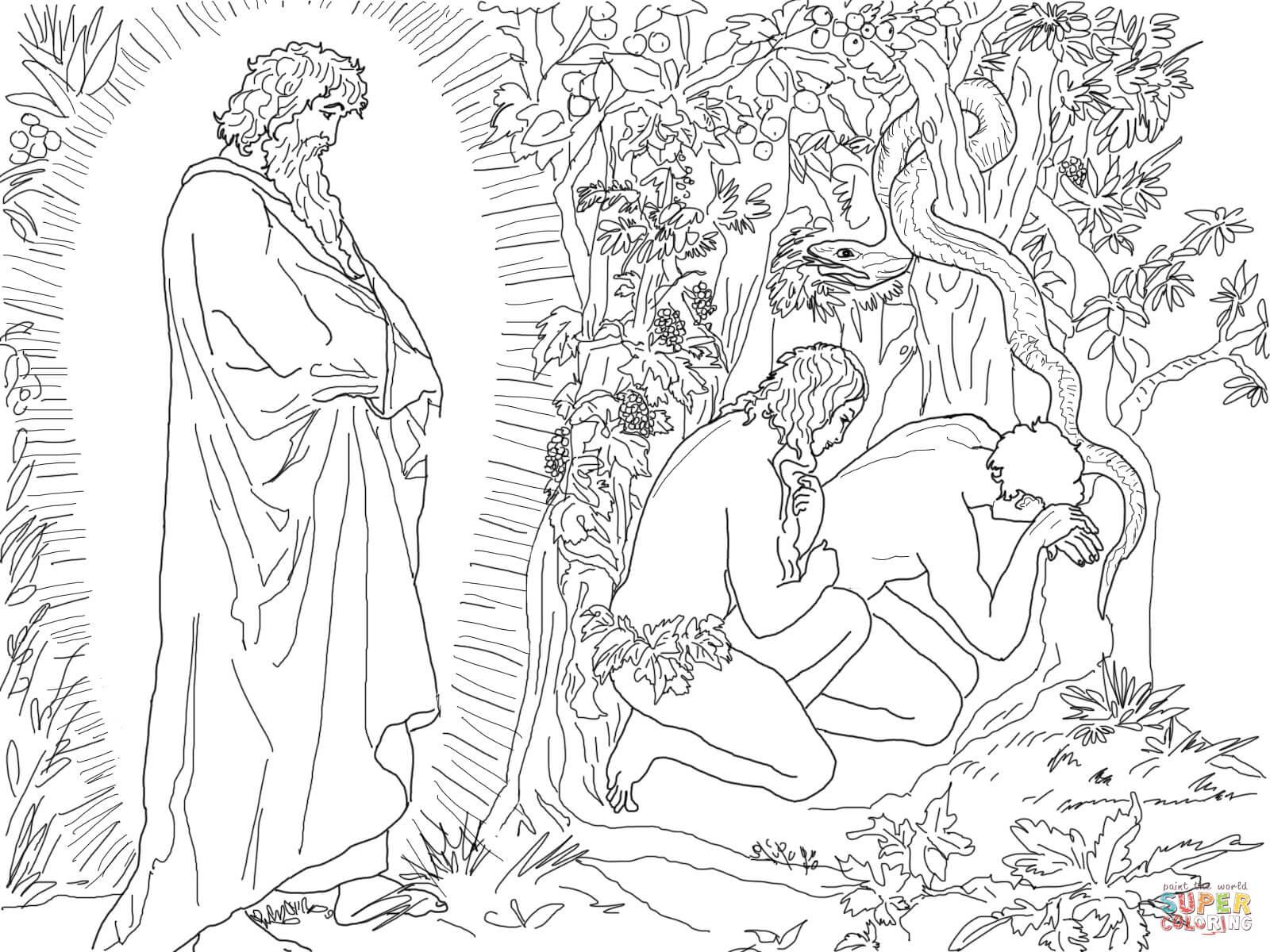 Ausmalbild: Adam Und Eva Fliehen Vor Der Anwesenheit Gottes ganzes Malvorlage Adam Und Eva