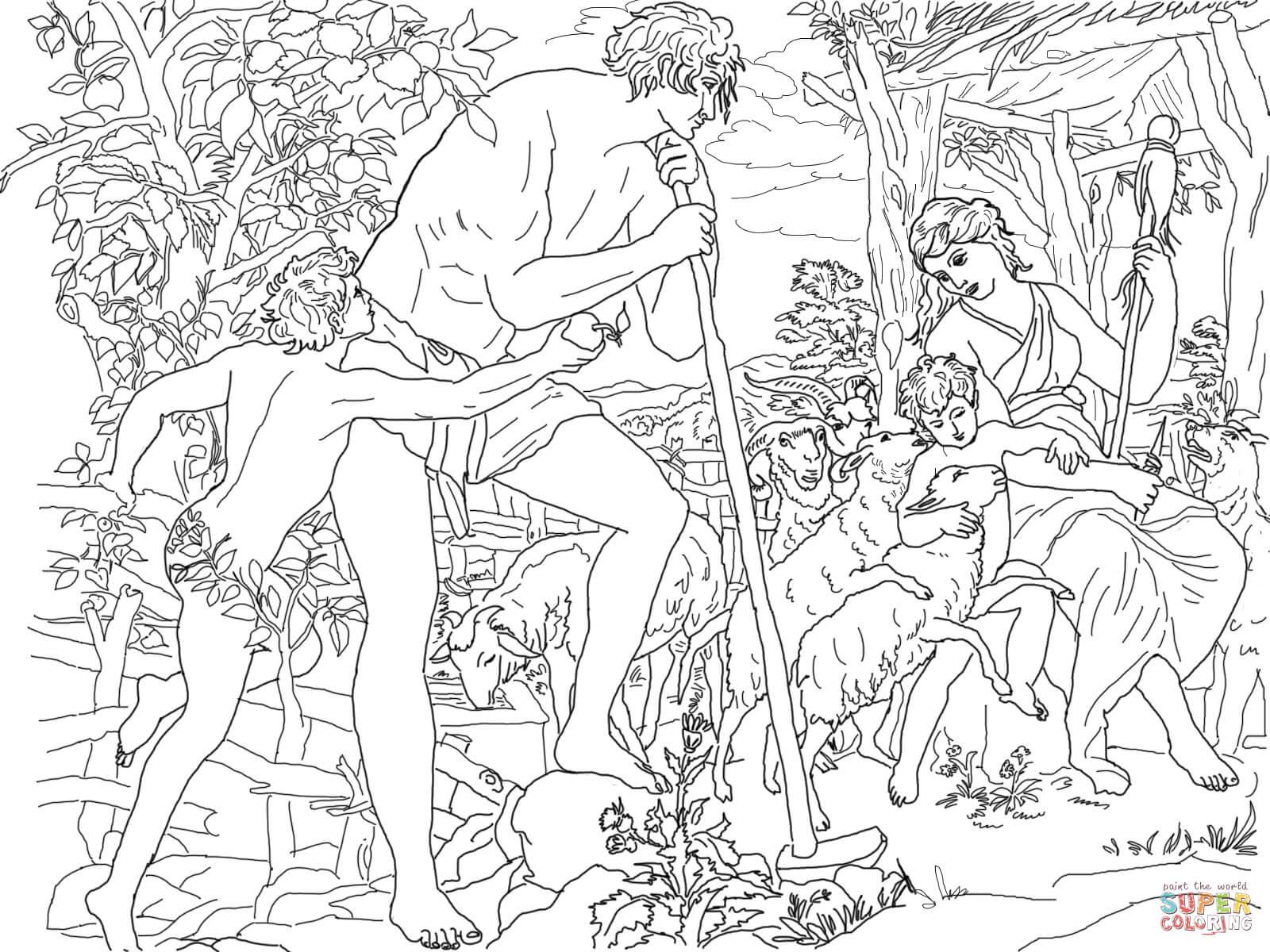 Ausmalbild: Adam Und Eva Mit Kain Und Abel | Ausmalbilder mit Malvorlage Adam Und Eva