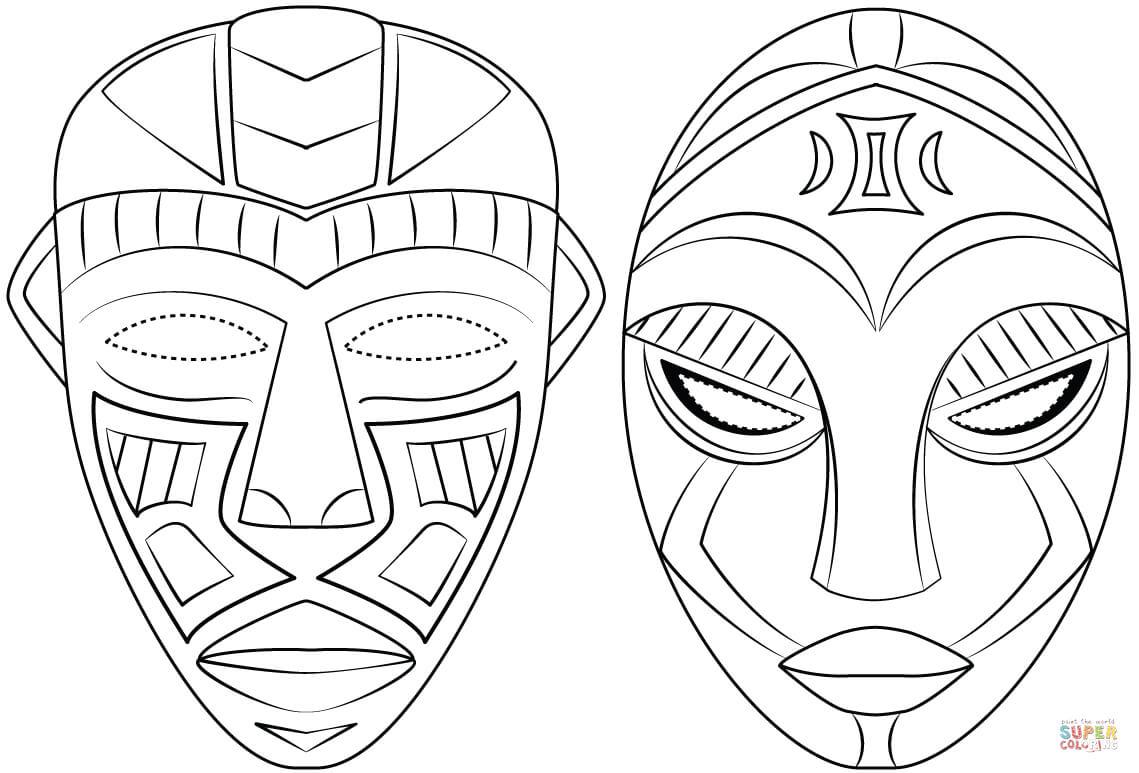 Ausmalbild: Afrikanische Masken   Ausmalbilder Kostenlos Zum in Masken Zum Ausmalen