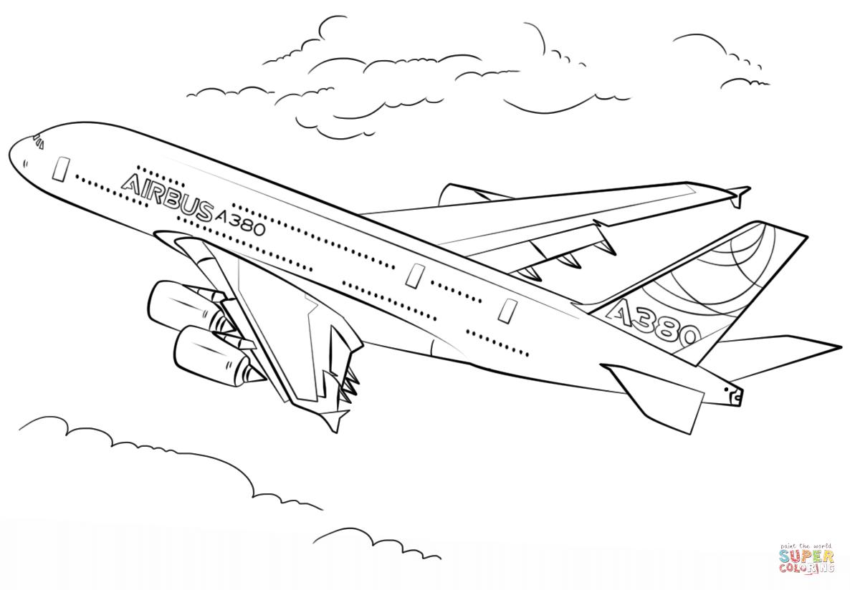 ausmalbild airbus a380  ausmalbilder kostenlos zum