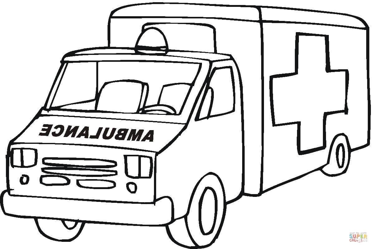 Ausmalbild: Ambulanz Rettungswagen | Ausmalbilder Kostenlos über Krankenwagen Ausmalbild