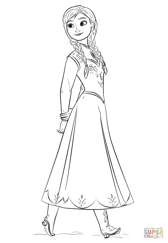 Ausmalbild: Anna Aus Dem Film Frozen | Ausmalbilder für Ausmalbilder Anna Und Elsa