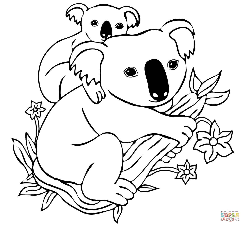 Ausmalbild: Babykoala Auf Den Rücken Der Mutter in Koala Ausmalbild