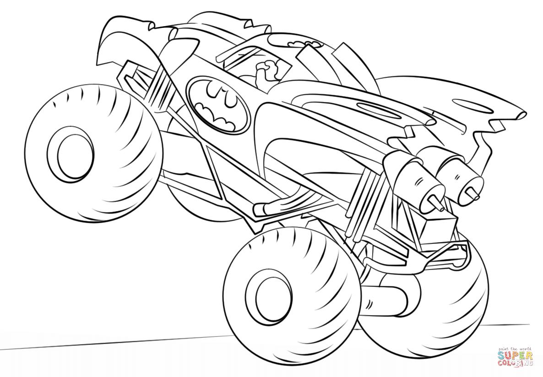 Ausmalbild: Batman Monster Truck | Ausmalbilder Kostenlos bestimmt für Monstertruck Malvorlage