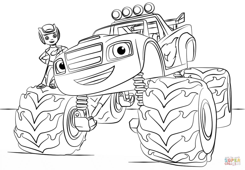 Ausmalbild: Blaze Monster Truck | Ausmalbilder Kostenlos Zum in Monstertruck Malvorlage