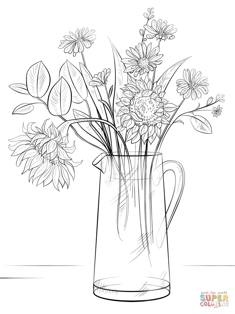 Ausmalbild: Blumenstrauss | Ausmalbilder Kostenlos Zum in Blumenstrauß Ausmalbilder