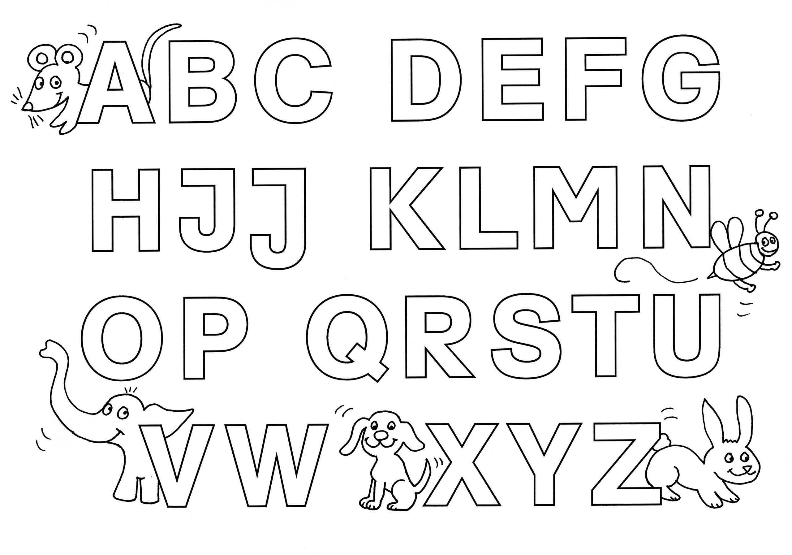 Ausmalbild Buchstaben Lernen: Buchstaben Lernen: Alphabet über Buchstaben Zum Ausdrucken