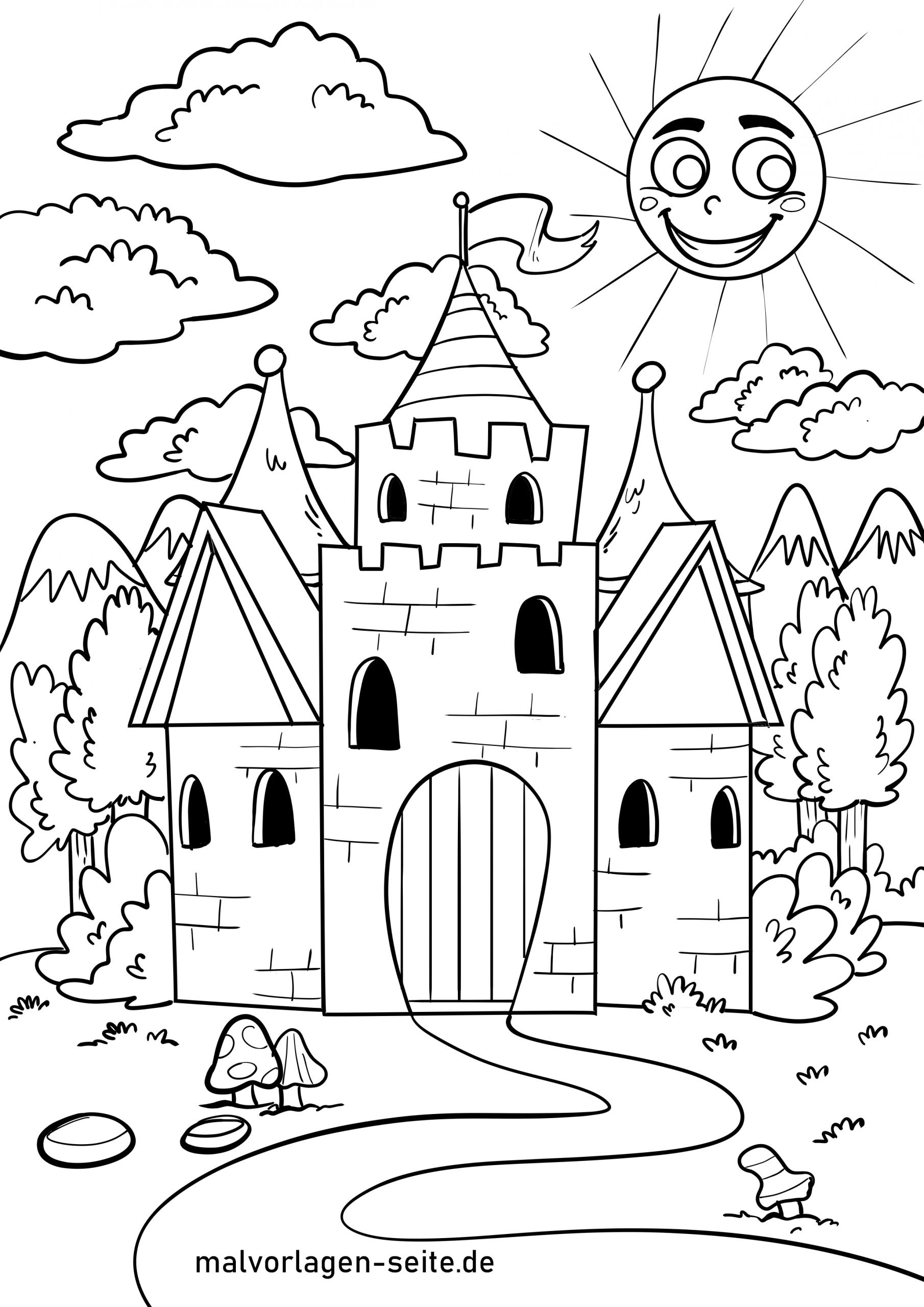 Ausmalbild Burg - Ausmalbilder Kostenlos Herunterladen für Ausmalbild Ritterburg
