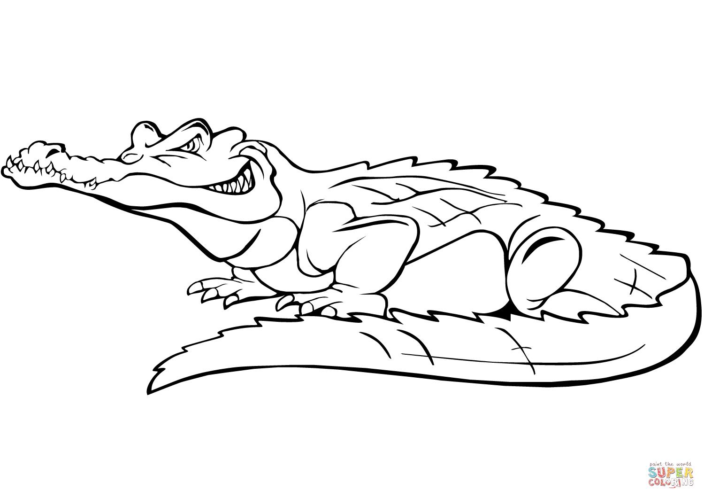 Ausmalbild: Comic-Krokodil | Ausmalbilder Kostenlos Zum ganzes Krokodil Zum Ausmalen