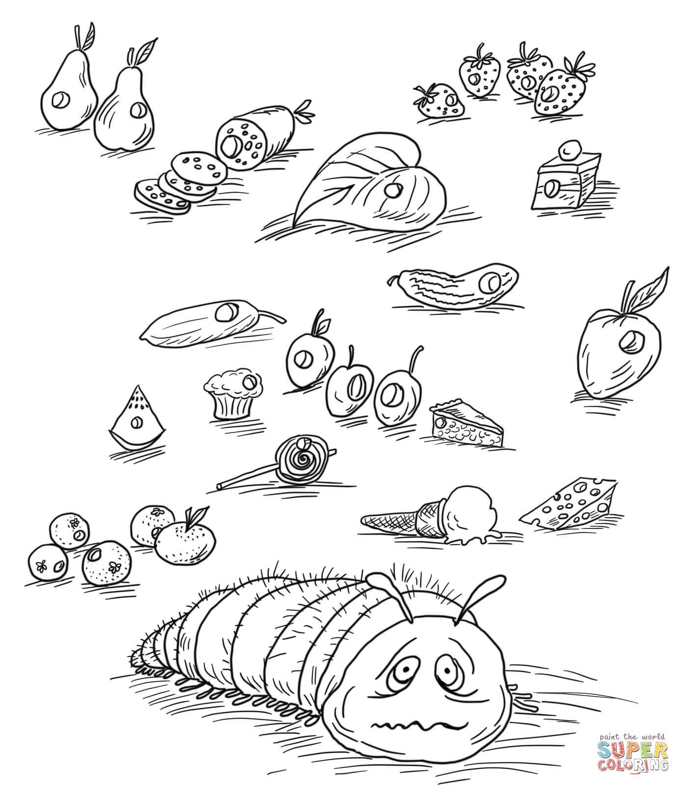 Ausmalbild: Die Kleine Raupe Nimmersatt Mit Früchten Und für Die Kleine Raupe Nimmersatt Ausmalbild