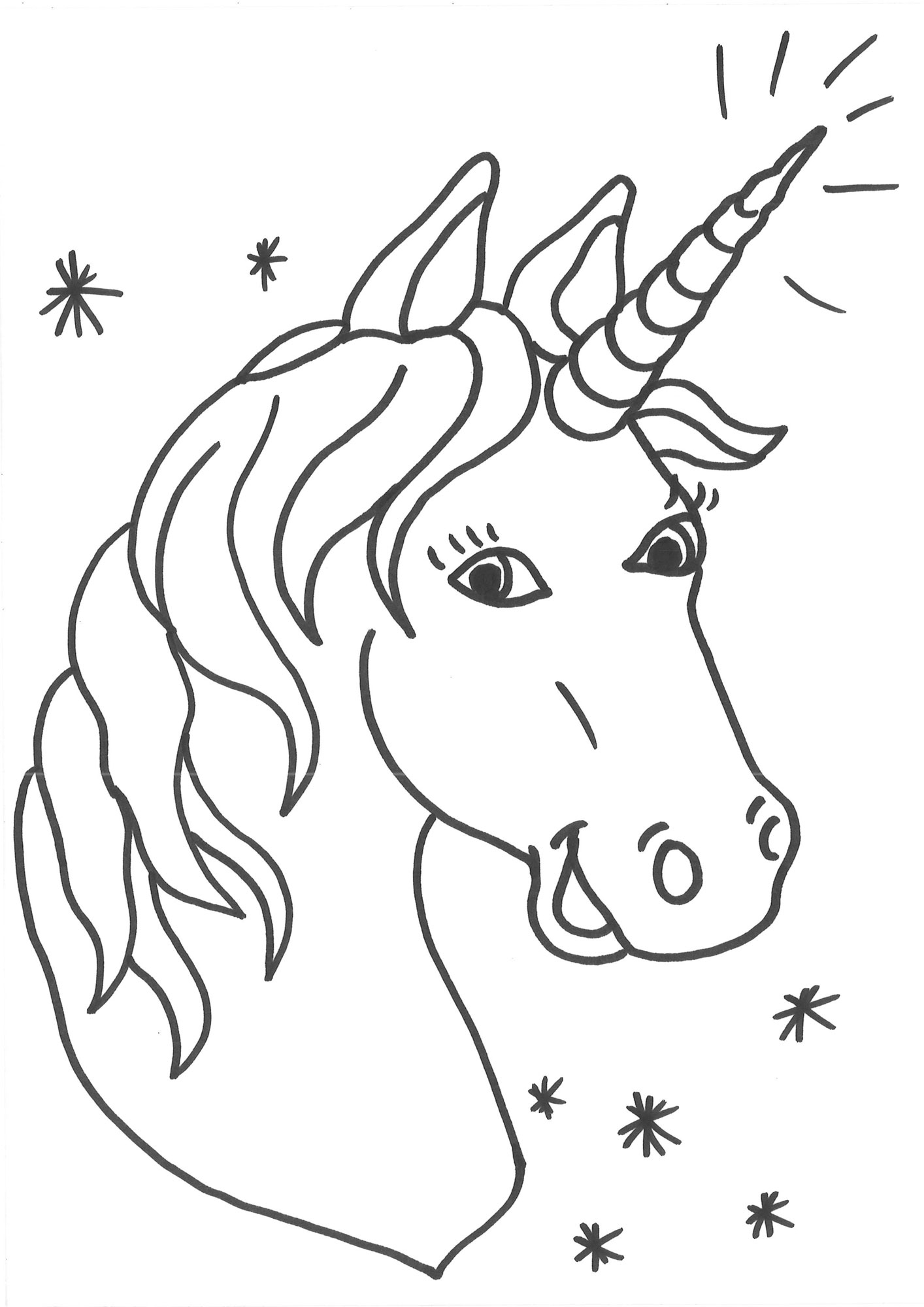 Ausmalbild Einhörner: Malvorlage Einhorn Kostenlos Ausdrucken bestimmt für Ausmalbild Einhorn