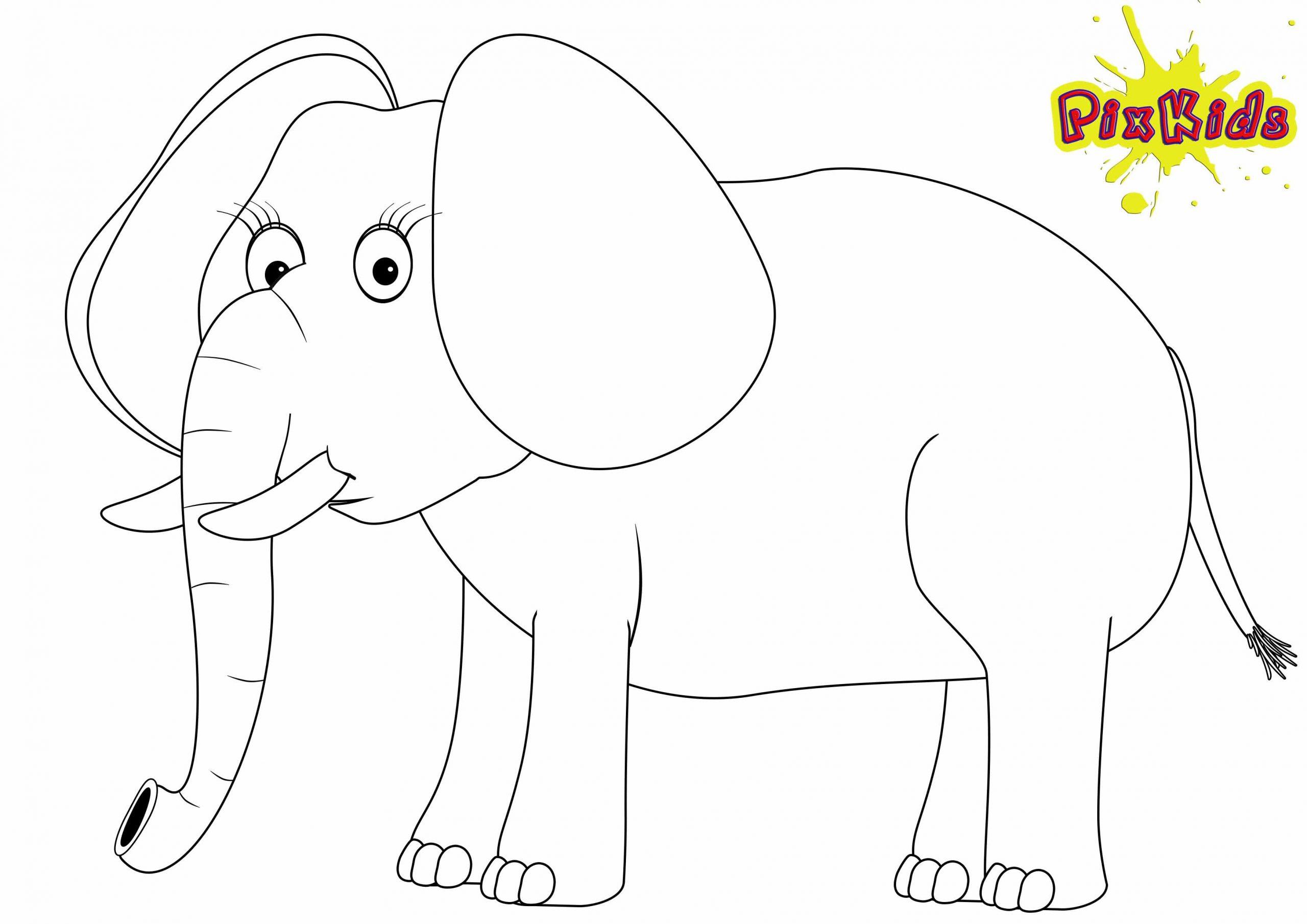 Ausmalbild Elefant - Kostenlose Malvorlagen bestimmt für Elefanten Malvorlagen