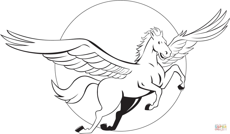 Ausmalbild: Fliegender Pegasus | Ausmalbilder Kostenlos Zum innen Pegasus Ausmalbilder