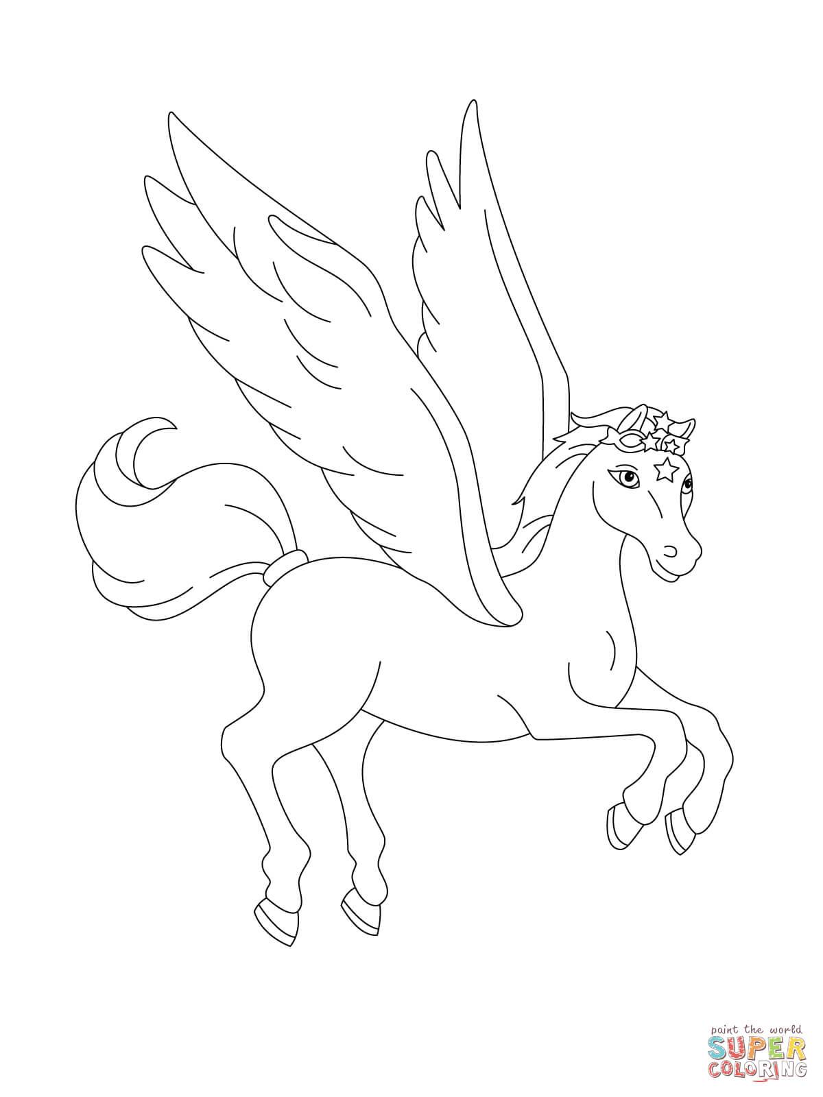 Ausmalbild: Fliegender Pegasus | Ausmalbilder Kostenlos Zum über Pegasus Ausmalbilder Zum Ausdrucken