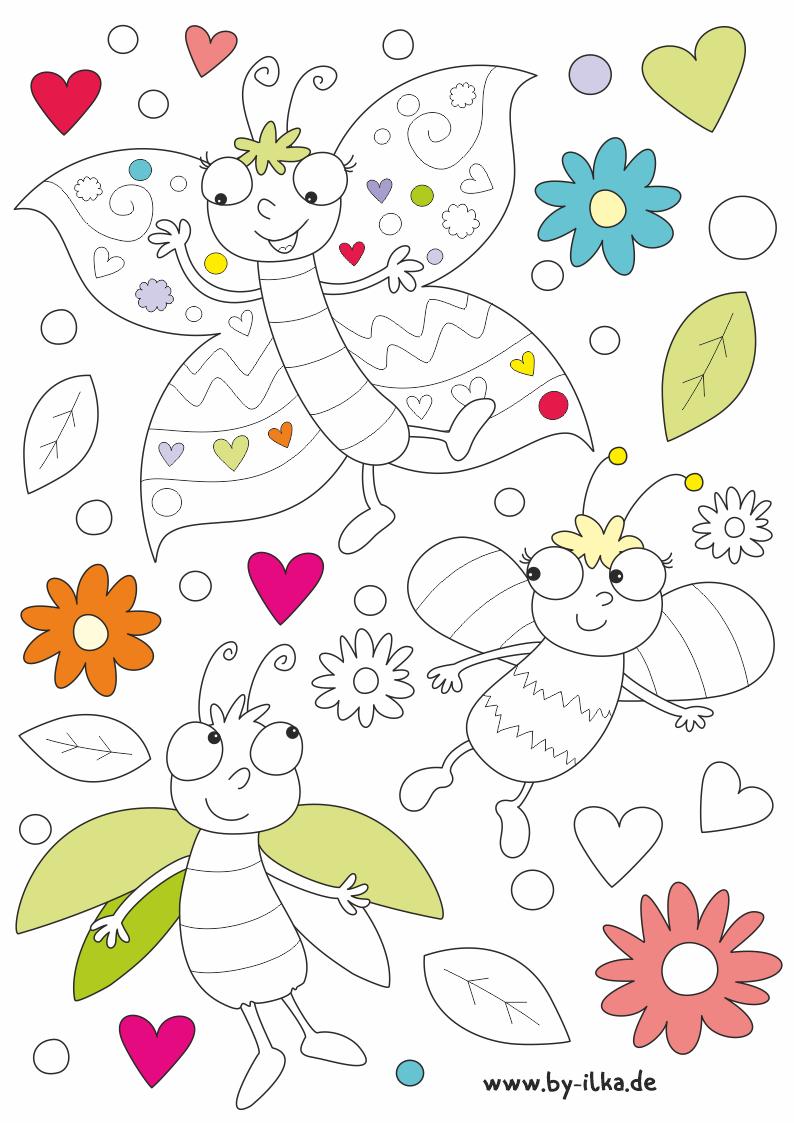 Ausmalbild Frühling - Biene - Schmetterling Und Grashüpfer bestimmt für Ausmalbilder Frühling