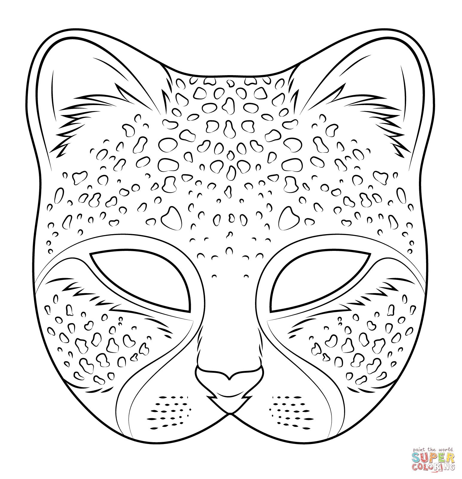Ausmalbild: Gepard Maske | Ausmalbilder Kostenlos Zum Ausdrucken ganzes Masken Zum Ausdrucken