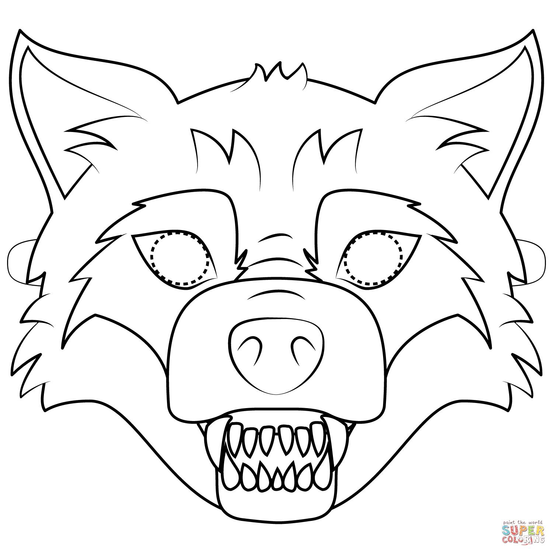 Ausmalbild: Großer Böser Wolf-Maske   Ausmalbilder Kostenlos über Masken Zum Ausmalen