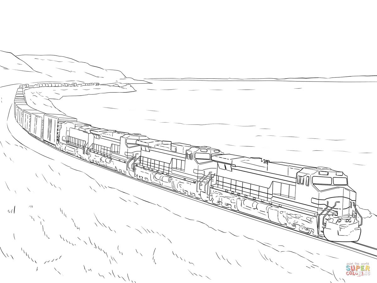Ausmalbild: Güterzug | Ausmalbilder Kostenlos Zum Ausdrucken bestimmt für Eisenbahn Ausmalbilder