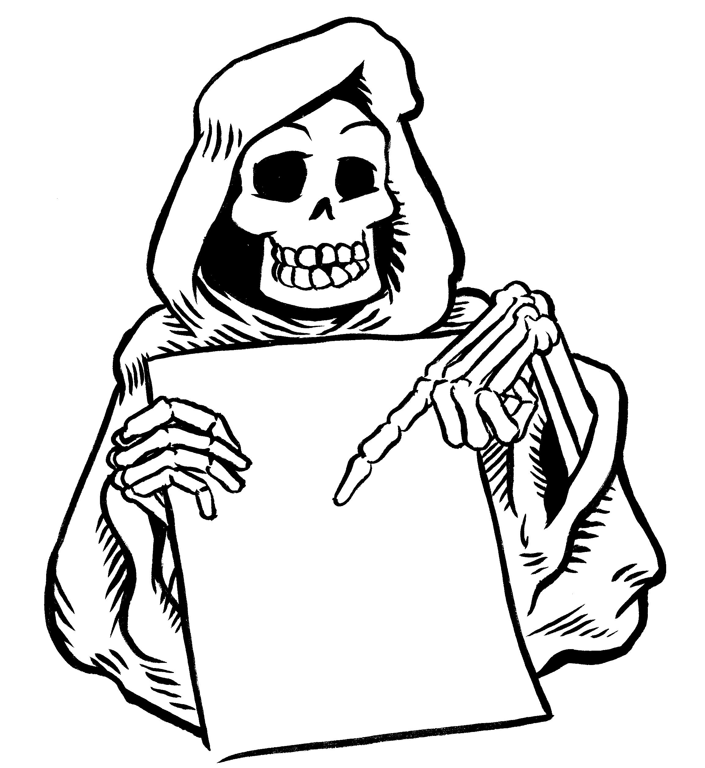 Ausmalbild Halloween Gehorntes Monster Kostenlos Ausdrucken bestimmt für Gruselige Halloween Ausmalbilder Zum Ausdrucken