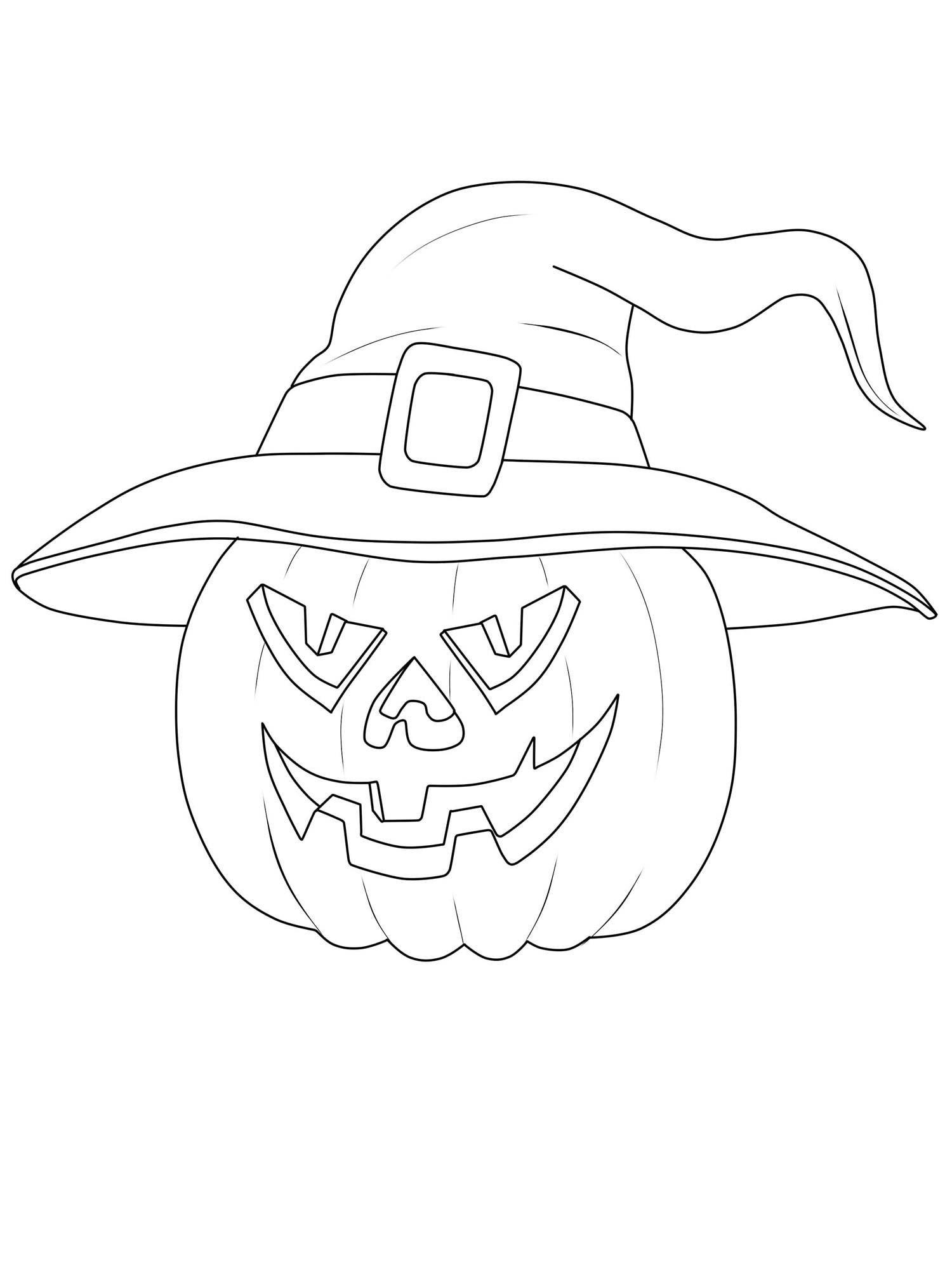 Ausmalbild Halloween: Kürbis-Hexe Ausmalen Kostenlos in Kürbis Ausmalbild