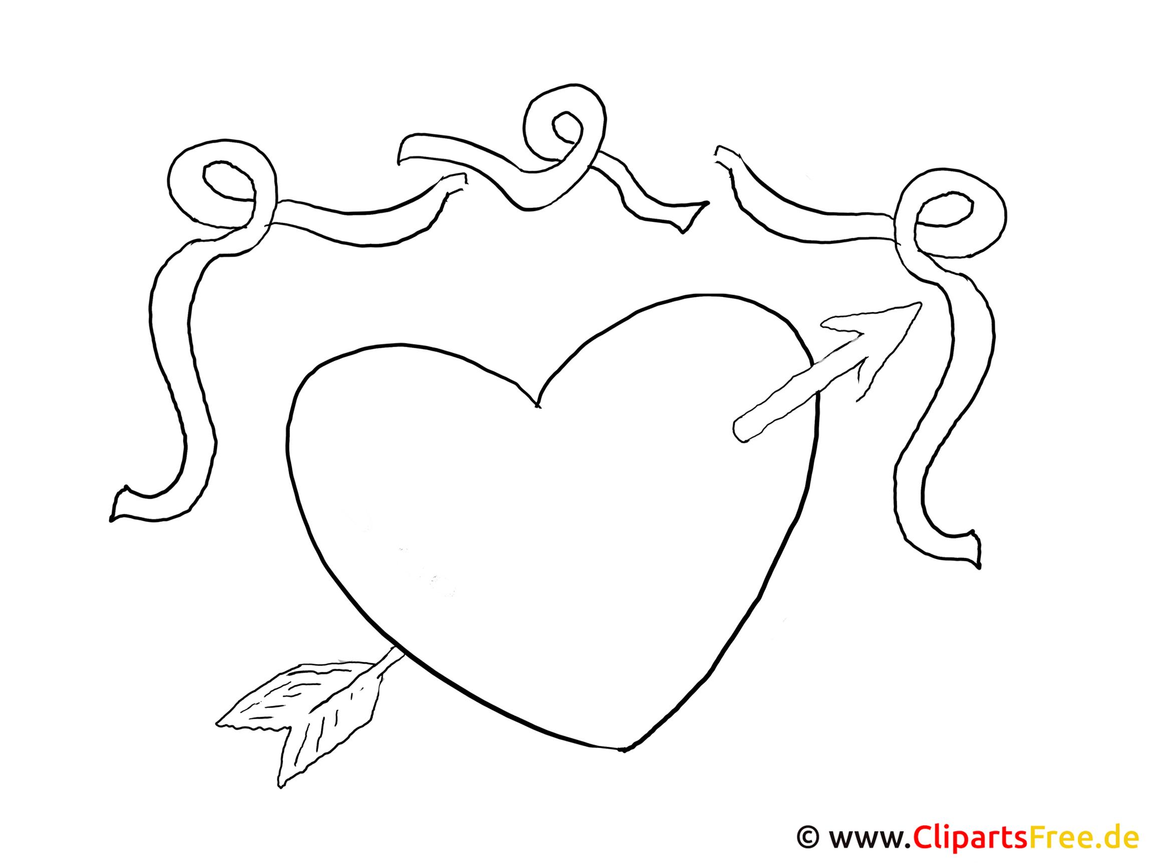 Ausmalbild Herz Mit Pfeil in Ausmalbilder Herz Mit Pfeil
