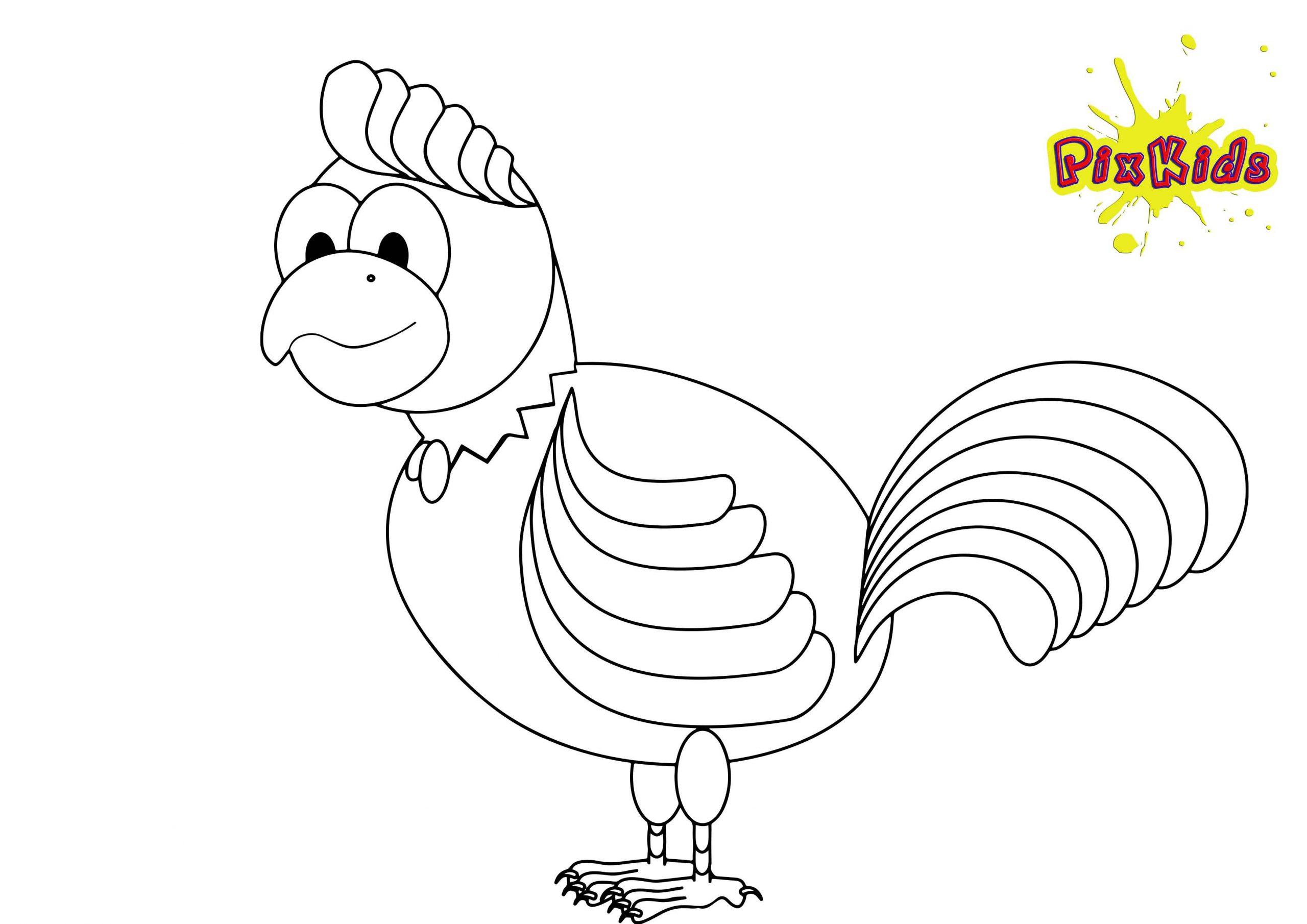 Ausmalbild Huhn Hahn - Kostenlose Malvorlagen mit Hühner Ausmalbilder