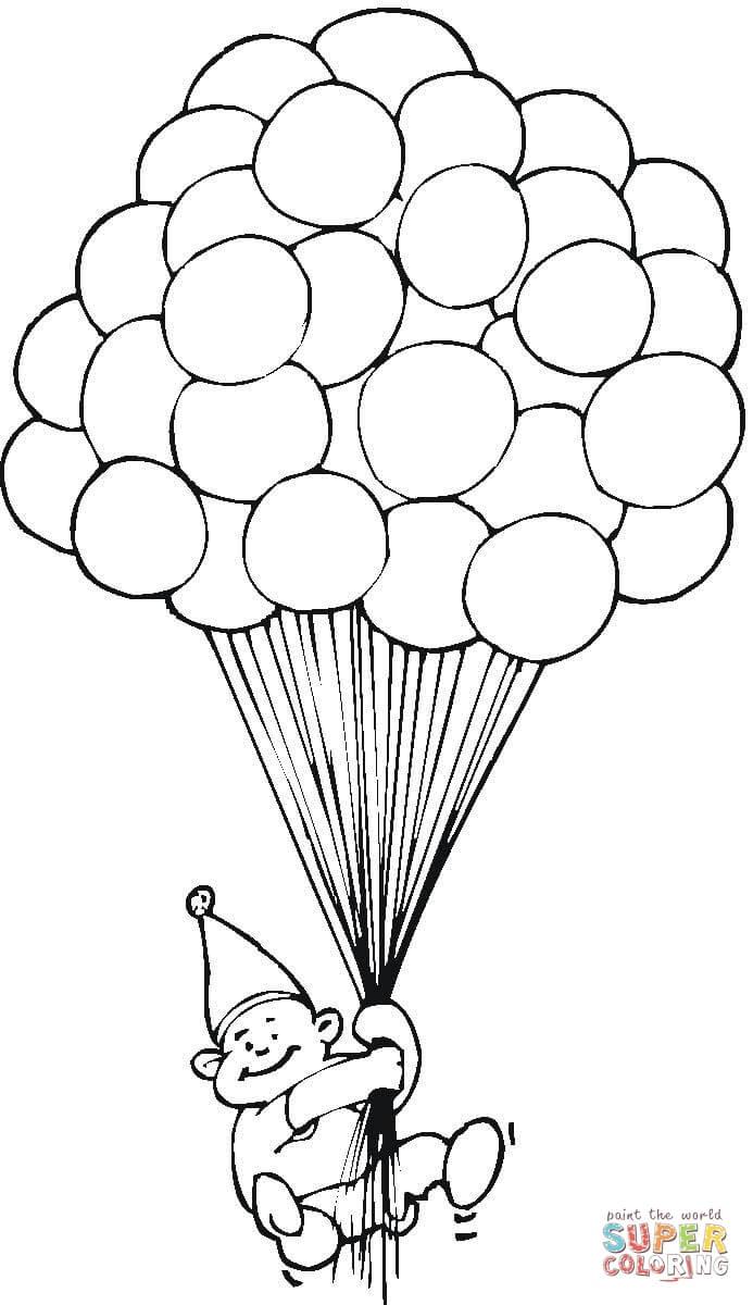 Ausmalbild: Hunderte Ballons | Ausmalbilder Kostenlos Zum für Luftballons Zum Ausmalen