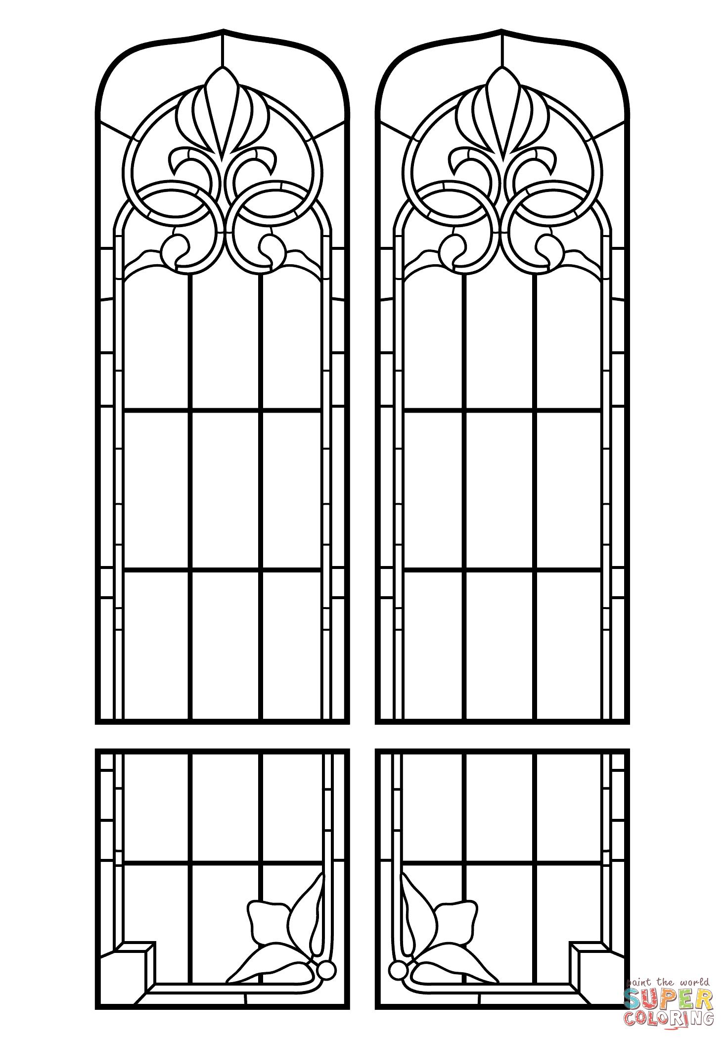 Ausmalbild: Kirchenfenster Glasmalerei | Ausmalbilder bei Kirchenfenster Malvorlage