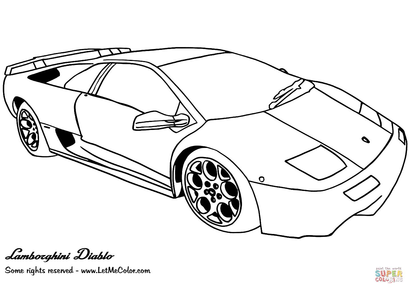 Ausmalbild: Lamborghini Diablo | Ausmalbilder Kostenlos Zum verwandt mit Malvorlagen Lamborghini